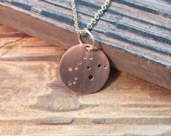 Zodiac Pendant Silver Necklace Constellation Capricorn Aquarius Pisces Aries Taurus Gemini Cancer Leo Virgo Libra Scorpio Sagittarius
