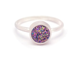 Peacock Druzy Quartz Ring - Sterling Silver - Bezel Set - Drusy Quartz - Available in sizes 5, 5.5, 6, 6.5, 7, 7.5, 8, 8.5, 9, 9.5 and 10