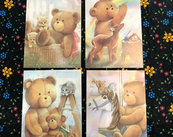 Set of 4 Teddy Bear Lithographs ~ USA ~ 1987 Donald art 7 x 5 in ~ prints
