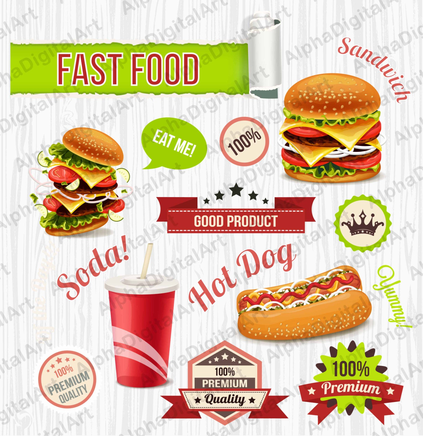 24 Fast Food clipart,Sandwich clipart,hot dog clipart,burger clipart ...