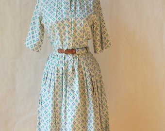 1950's Countrywise Geometric/Abstract Print teal Full Skirt shirt dress XS