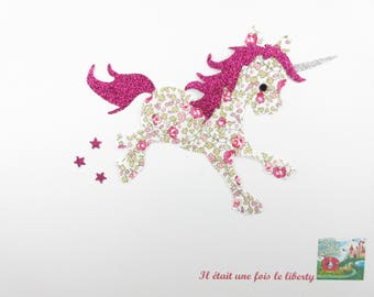 Applied fusing Unicorn liberty of Eloise flex pink glittery patch Unicorn liberty fusible iron-on applique