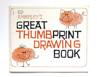 1975 Ed Emberley's Great Thumbprint Drawing Book Vintage Scholastic Paperback