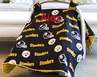 Pittsburgh Steelers Baby Car Seat Canopy Baby Car Seat Cover Steelers Minky Steelers Blanket Personalized blanket Custom Baby Shower Gift