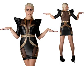 Sample Sale; Space Goddess Mini Dress, Red Carpet Dress, Gold Evening Dress, Futuristic Clothing, Stage Wear, Futuristic Dress, LENA QUIST