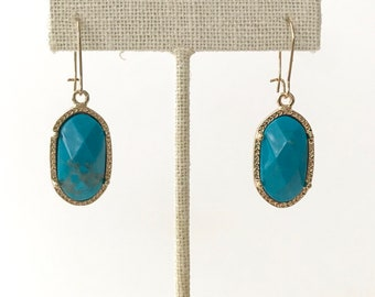 Turqouise Howlite Stone Dangle Earrings, Earrings, Pendant Earrings