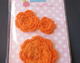 Riley Blake Orange Crocheted Flowers