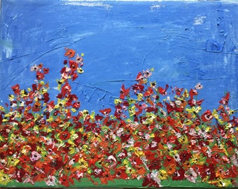Field of Flowers original oil painting poppy wild flowers bright blue sky valentine picture love red flowers