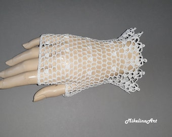 Crochet Mittens, Fingerless Gloves,White, 100% Mercerized Cotton.