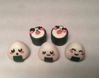 Choose a set of sushi or onigiri clay charms, figures, polymer clay, food, chibi, Japan, anime,