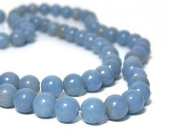 8mm Angelite beads, natural light blue gemstone, round bead, full or half strands available  (670S)