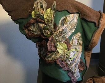 Forest Fantasy Hood, Festival Gear, Woodland Faerie Hat, Lined Cotton Hood, #HD127