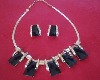 Classy Black and Gold Necklace/Pierced Earrings:  Price Reduced....