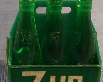 7 UP miniature 6 Pack salesman sample, giveaway or premium 1 1/2 inches tall 1960s