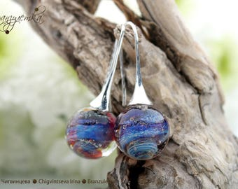 Galaxy - earrings lampwork ball - silver plated supplies - blue shining