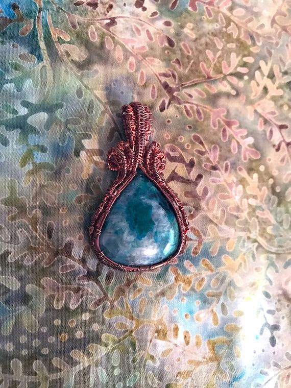 Chrysocolla Wire Wrapped Pendant, Chrysocolla Pendant, Chrysocolla Healing Jewelry, Communication Stone