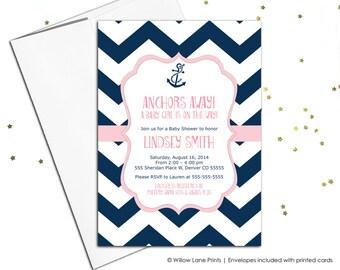 chevron baby shower Invitation girls, pink and navy baby shower invite printable, DIY baby shower digital invitation - WLP00793