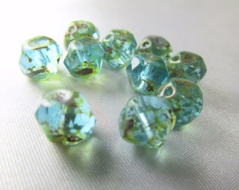 10 Czech Glass 6mm x8mm Green Aqua Picasso Faceted Center Cut Rondelle Jewelry Beads