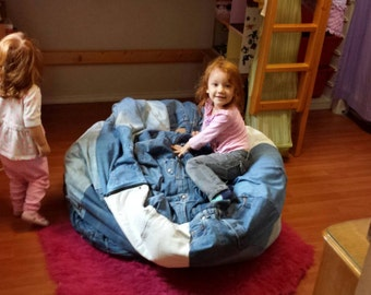 Upcycled Patchwork Denim Beanbag Chair Cover, Save Space And Fill With  Stuffed Animals! Modern