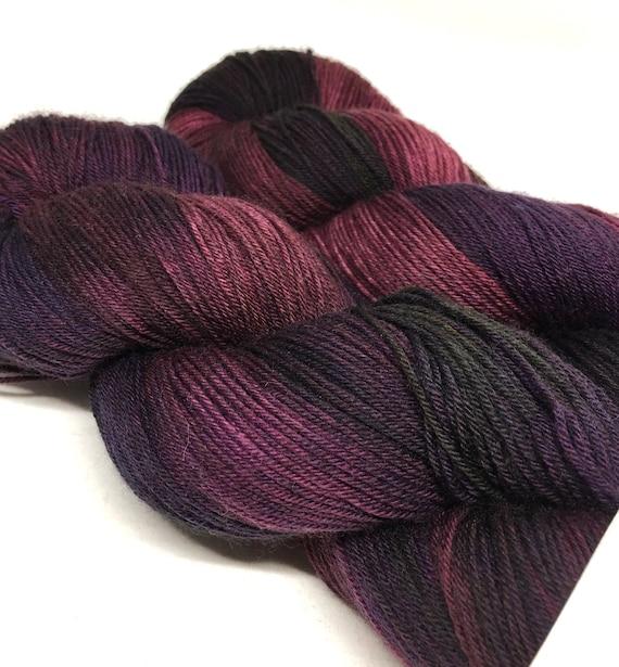 Hand Dyed Superwash Merino/Nylon Wool Sock Yarn_Black Plum