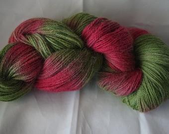 Hand dyed 200grms Alpaca yarn