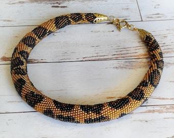 Crochet bead necklace Crochet jewelry Animal print Leopard print Gift for woman