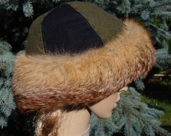 Early madieval hat, round hat form Birka with fox fur. Viking, Middle Ages, 2 colored hat cap perfect for historical reenactors of Vikings