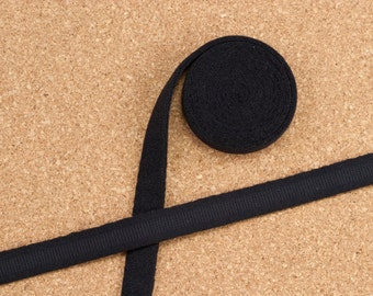 "1 Yard 3/8"" BLACK Plush Underwire Channeling / Casing for Bra Making Factory Dyed 11mm Bra Making"