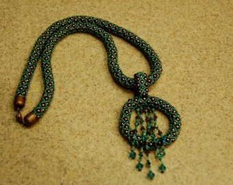 Bead Weaving Pearl and Crystal Necklace