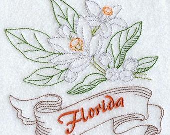 Florida Orange Blossom State Flower Embroidered on a Flour Sack Towel Hand towel Dish Towel