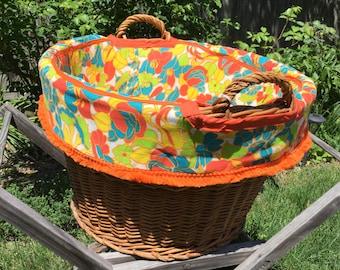 Laundry Basket Liner Handmade UpCycled Insert Liner 1960s Floral Fabric Vintage Laundry Basket Liner Vibrant Orange Fringe Trim