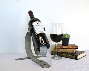 """Counter-Top Wine Barrel Bottle Holder -made from retired Napa wine barrel rings -  100% recycled!  PORTA - """"Angulus""""-"""