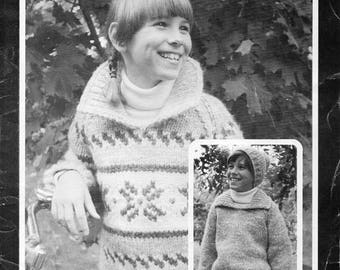 Cowichan Style Child's Pullover Sweater & Toque #505 PDF Pattern