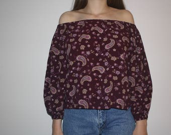 Maroon Paisley Off the Shoulder Top