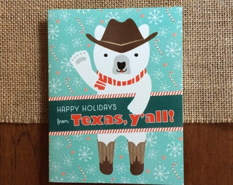 Polar Texas Folded Holiday Cards, Box of 10 - Texas Christmas Cards - Happy Holidays from Texas - OC1174-TX-BX