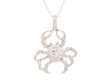 """925 Sterling Silver Crab Pendant w/18"""" Cable Chain Necklace"""