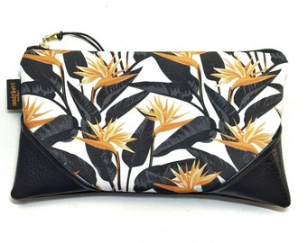 Large Mustard/White Bold Bird of Paradise Zipper Pouch / Clutch with inside lining and Zipper Pull or Leather Wristlet Strap