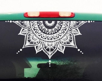 Mandala Car Decal - Car Decal Mandala Sticker - Half Circle - Half Moon Mandala - Yoga, Boho, Flower Decal - Mens Womens Car Sticker - H4