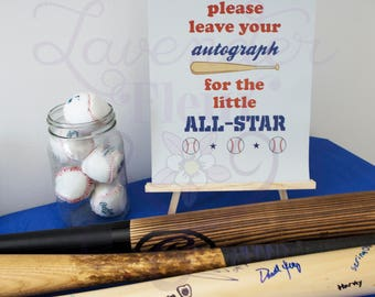 All-Star Autograph Digital Printout - Baseball Theme Party, Baby Shower, Baseball