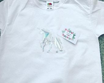 Personalised Children's Unicorn T Shirt. Unicorn Gift. Personalised Clothing