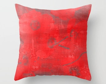 Red poppies pillow art, red decorative poppy cushion, abstract poppy throw pillow, painterly poppies pillow, red sofa decor pillow