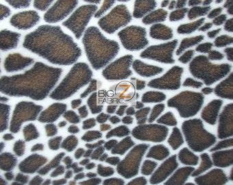 "Print Polar Fleece Fabric - Animal Print Giraffe Brown - Sold By The Yard 60"" Width (946)"