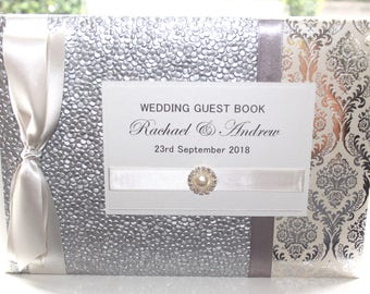 Personalised Handmade Wedding Guest Book Silver Damask Pebble by Charlotte Elisabeth GB009