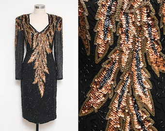 Black Gold Copper Sequin Gown // Formal Beaded Cocktail // 80s A.J. Bari Leaf Pattern Open Back Sweetheart Neckline Long Sleeve Silk Size 6