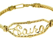 Personalized Handmade Name Bracelet, Brides Gift, Clasp Bracelet, Made to Fit, Unique Style, Custom, Gold Wire, Combination Gold and Silver