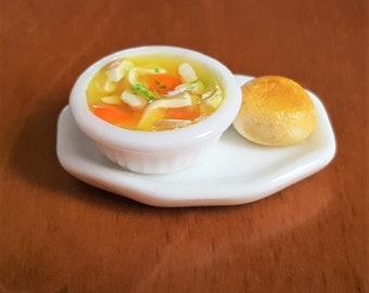Miniature Dollhouse Chicken Noodle Soup, Chicken Soup, Miniature Soup