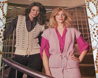 Leisure Arts Leaflet 141 Vests for Women to Knit and Crochet  1979 10 pages leaflet 1970s 70s pattern