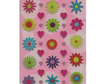 Flowers and Hearts Sparkle Stickers