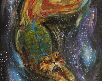 Play - acrylic painting, surrealism, painting on canvas, cat painting, space painting