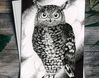 "Great horned owl 4x6"" drawing FOLDING CARDS set of 6"